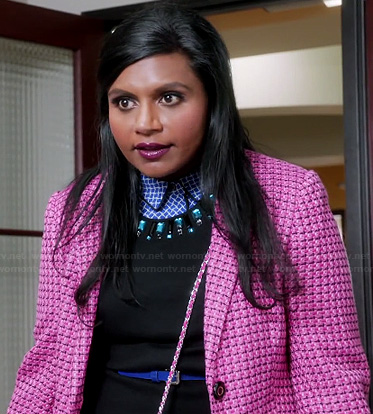 Mindy's pink coat and blue check print shirt on The Mindy Project