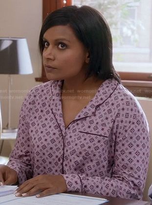 Mindy's pink printed pajama shirt on The Mindy Project