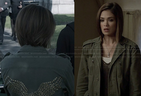 Miranda's green eagle studded jacket on Ravenswood