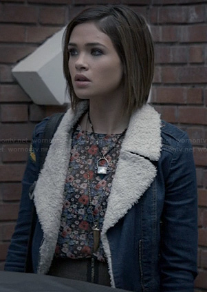Miranda's denim shearling jacket on Ravenswood