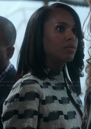Olivia's white and grey geometric pattern jacket on Scandal