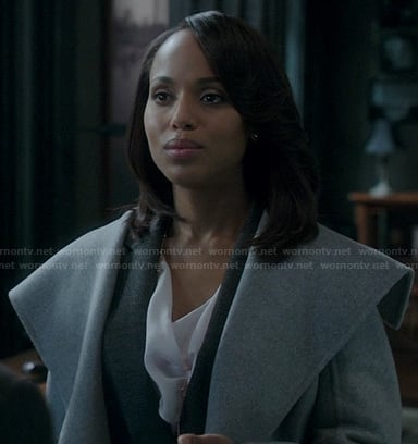 Olivia's grey shawl collar coat on Scandal