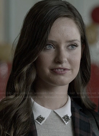 Olivia's grey sweater with white jeweled collar on Ravenswood