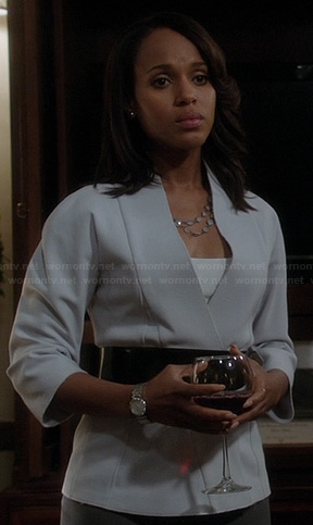 Olivia's light grey wrap style jacket on Scandal