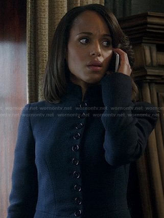 Olivia's navy blue button front jacket on Scandal