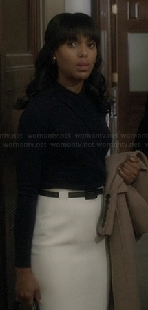 Olivia's white high waisted pencil skirt and wrap top on Scandal