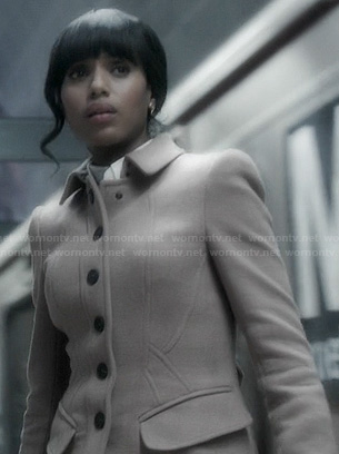 Olivia's seamed trench coat on Scandal