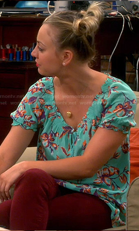 Penny's aqua green floral print tie front top on The Big Bang Theory