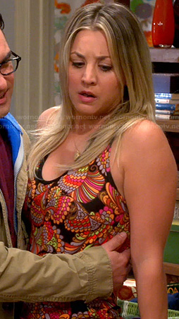 Penny's black and orange printed cami on The Big Bang Theory