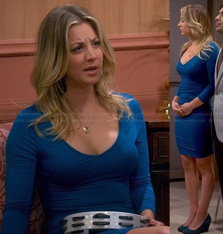 Penny's blue longsleeved dress on The Big Bang Theory