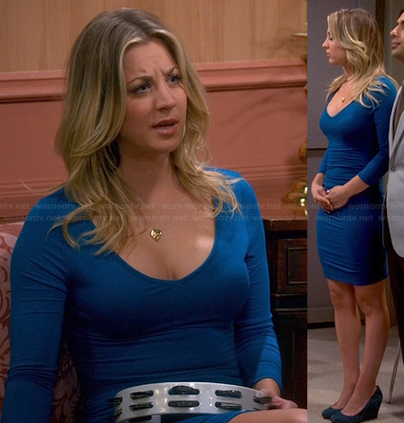 Penny's blue long sleeve bodycon dress on The Big Bang Theory
