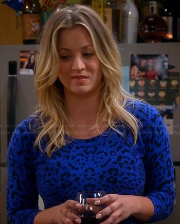 Penny's blue cheetah spot sweater on The Big Bang Theory