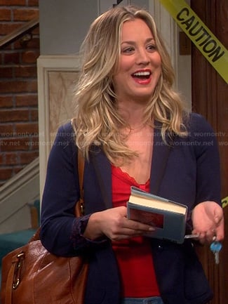 Penny's navy polka dot blazer on The Big Bang Theory