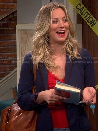 Penny's navy polka dot blazer on The Big Bang Theory