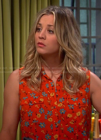 Penny's orange floral sleeveless shirt on The Big Bang Theory