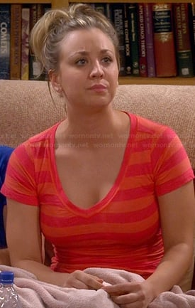 Penny's orange striped top on The Big Bang Theory