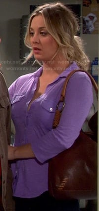 Penny's purple button up top on The Big Bang Theory