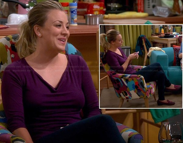 Penny's purple cowl neck top and purple/pink tassel loafers on The Big Bang Theory