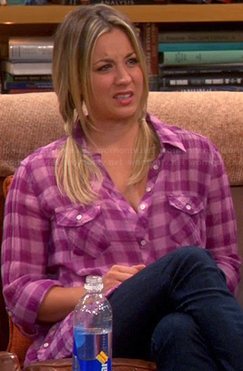 Penny's pink checkered button up top on The Big Bang Theory