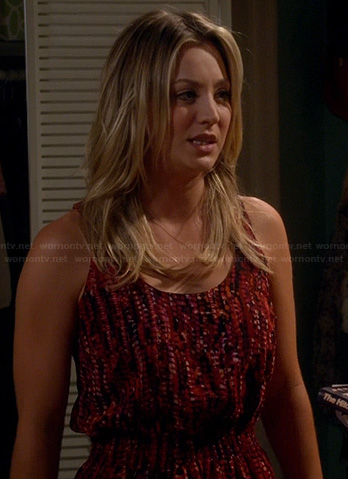 Penny's red printed tank dress on The Big Bang Theory
