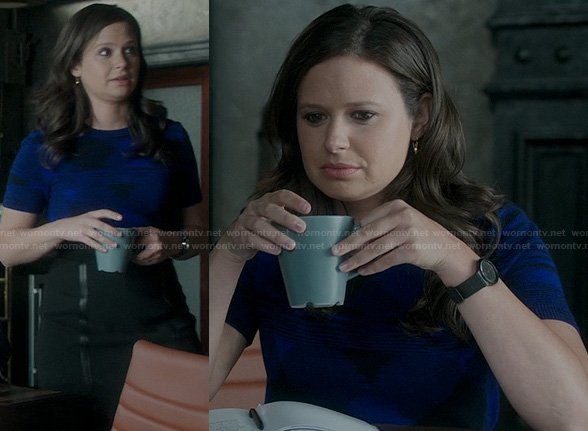 Quinn's blue sweater and leather trim skirt on Scandal