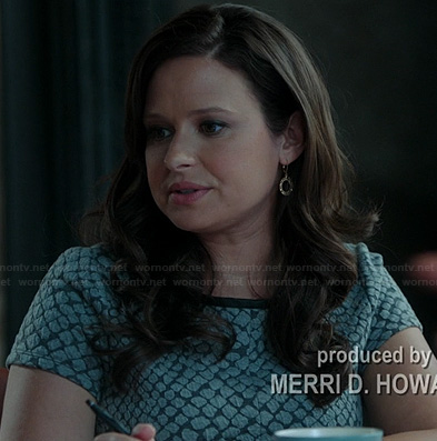 Quinn's grey patterned top on Scandal