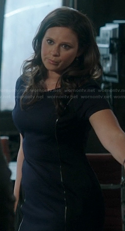 Quinn's navy and black contour dress on Scandal