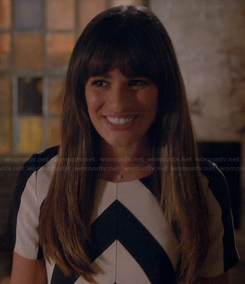Rachel's black and white chevron stripe top on Glee