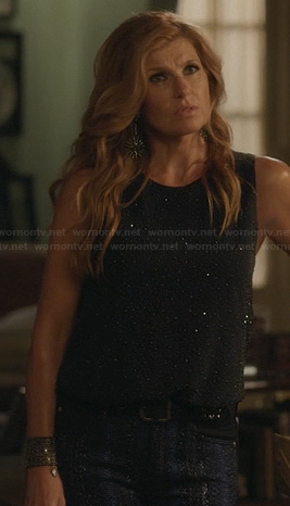 Rayna's black allover studded top on Nashville