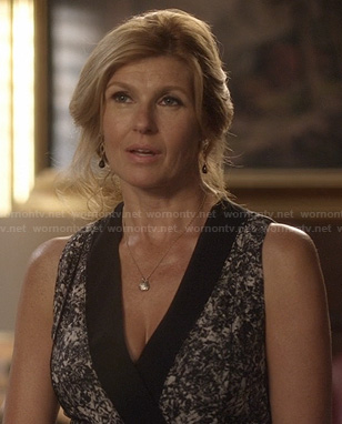 Rayna's black and white printed wrap dress on Nashville