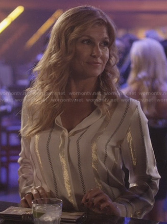 Rayna's white shirt with metallic stripes on Nashville