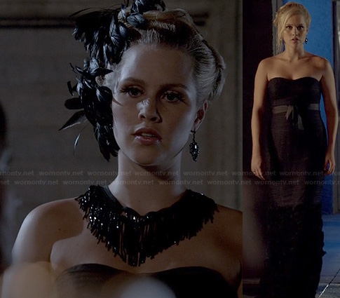 Rebekah's black strapless gown on The Originals