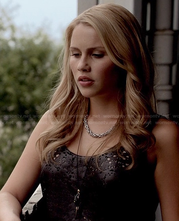 Rebekah's grey distressed tank top on The Originals