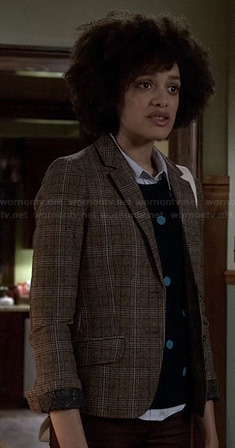 Remy's blue polka dot sweater and check print blazer on Ravenswood