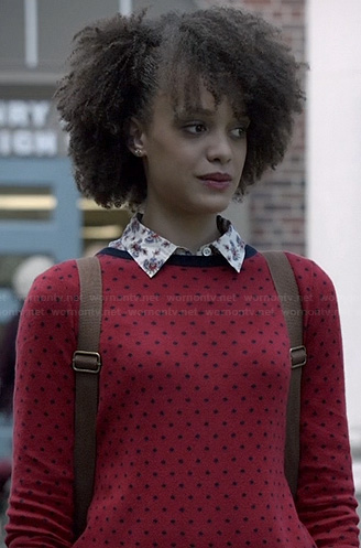 Remy's red polka dot button back sweater and printed shirt on Ravenswood
