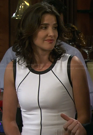 Robin's white dress with black leather piping detail on How I Met Your Mother