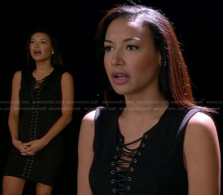 Santana's black laceup dress on Glee
