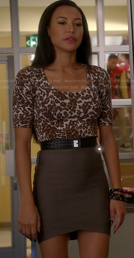 Santana's brown bandage skirt and leopard print sweater on Glee