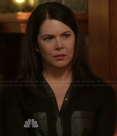 Sarah's black blouse with leather pockets on Parenthood