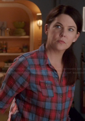 Sarah's blue and red plaid shirt on Parenthood