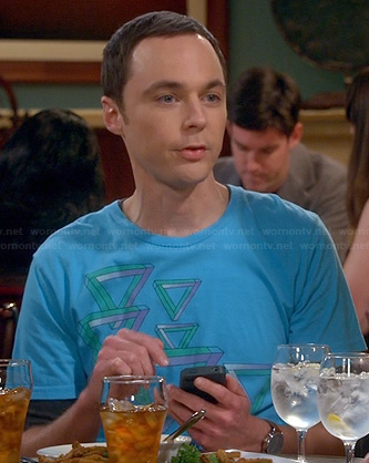 Sheldon's blue triangle graphic tee on The Big Bang Theory