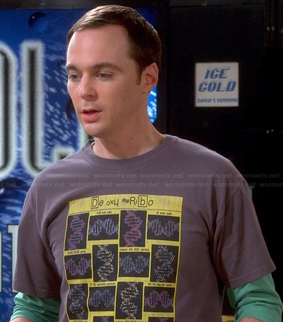 "Sheldon's ""De Oxy Ribo"" DNA shirt on The Big Bang Theory"