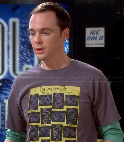 Sheldon's DNA graphic tee on The Big Bang Theory