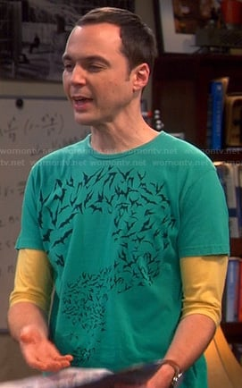 Sheldon's green bat question mark tee on The Big Bang Theory