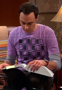Sheldon's purple squares graphic tee on The Big Bang Theory