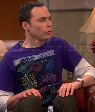 Sheldon's purple nano cubes tee on The Big Bang Theory