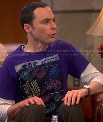 Sheldon's purple nano cubes tee on The Big Bang Theory