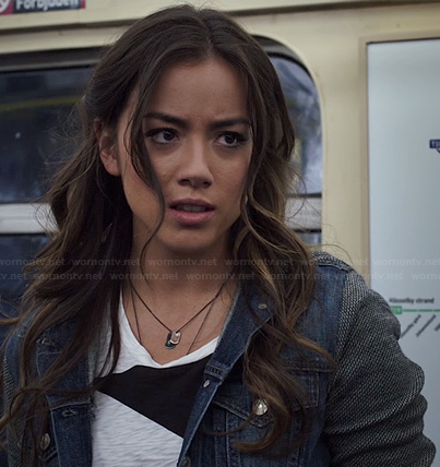 Skye's black and white colorblock tee and denim jacket on Agents of SHIELD