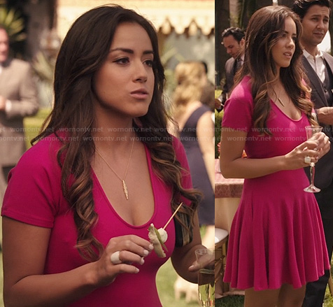 Skye's pink flared dress on Agents Of SHIELD