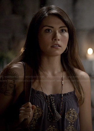 Sophie's blue embroidered cami on The Originals